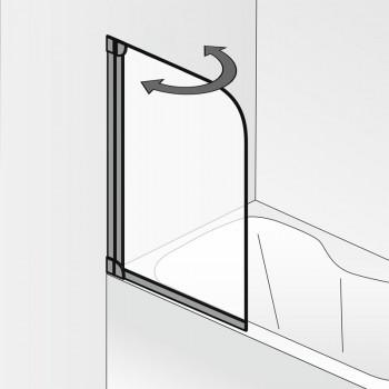 HSK Favorit Badewannenaufsatz, 1-teilig Rechts Alu Silber-Matt Klar Hell ohne Beschichtung exkl. Aufmaßservice