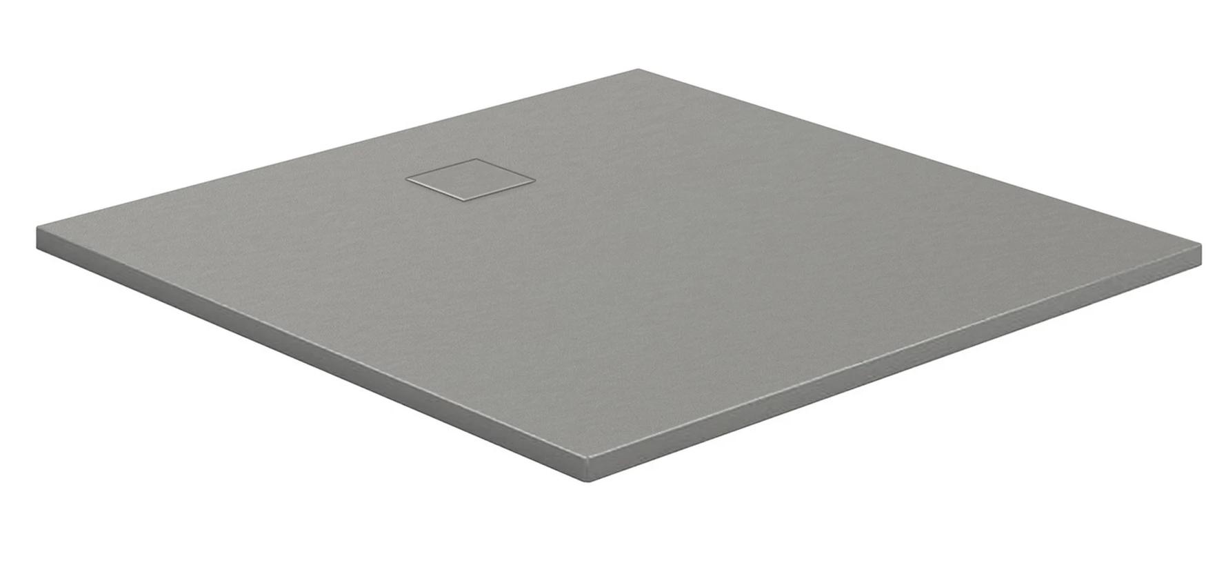 HSK Marmor-Polymer-Duschwannen, Steinoptik - Quadrat 100x100 Steingrau mit AntiSlip-Beschichtigung