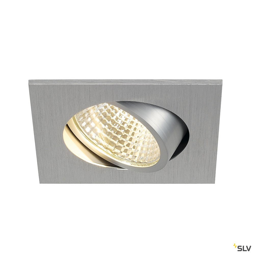 NEW TRIA 1 SET, Einbauleuchte, LED, 3000K, eckig, aluminium gebürstet, 38°, inkl. Treiber, Clipfedern