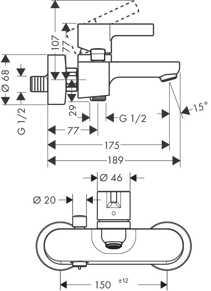 HG Wannenmischer Aufputz Metris S DN15 chrom