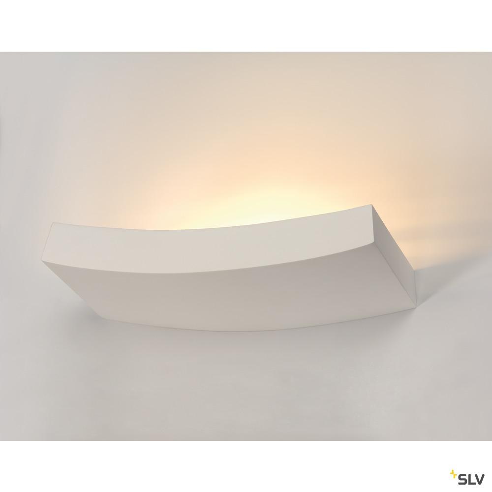 PLASTRA 102 CURVE, Wandleuchte, weißer Gips, QT-DE12, max. 100 W