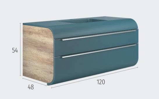 Thielsch Badmöbel Happy 120 inkl. Waschtisch Indigo Blue Mattlackiert, Weiß Glanzlackiert, Grau Glanzlackiert