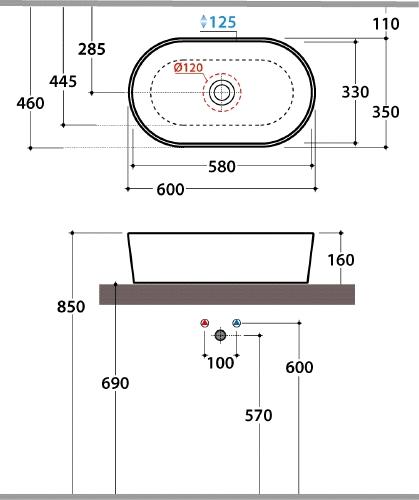 Thielsch Badkeramik Design Aufsatzwaschtisch oval