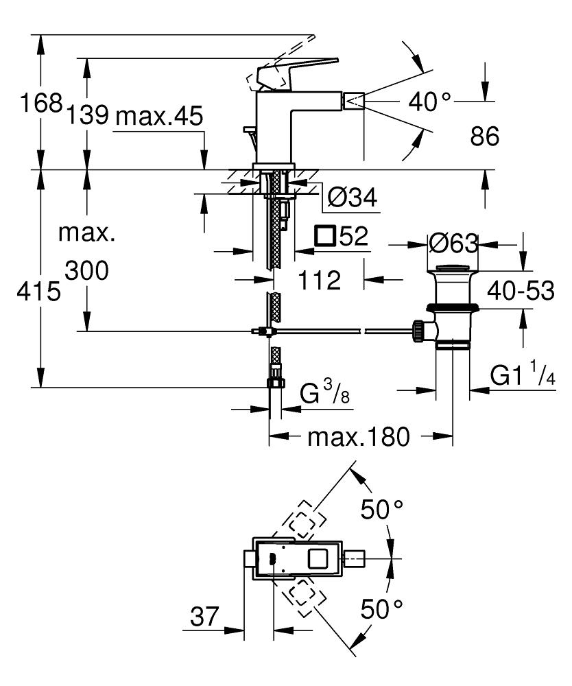 GROHE Eurocube Einhand-Bidetbatterie, DN 15
