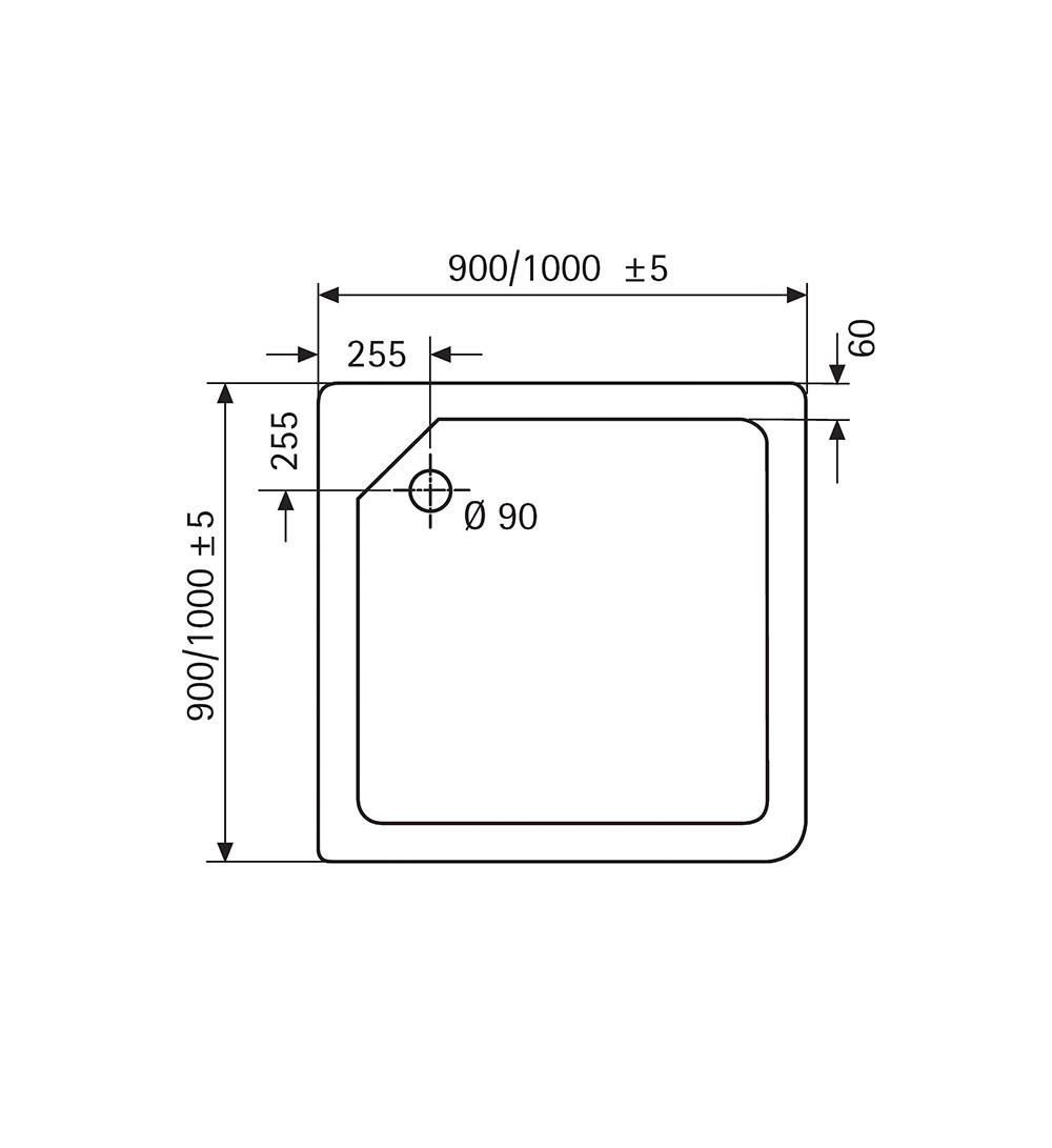 HSK Marmor-Polymer-Duschwannen, super-flach - Quadrat, 90x90 ohne AntiSlip-Beschichtigung