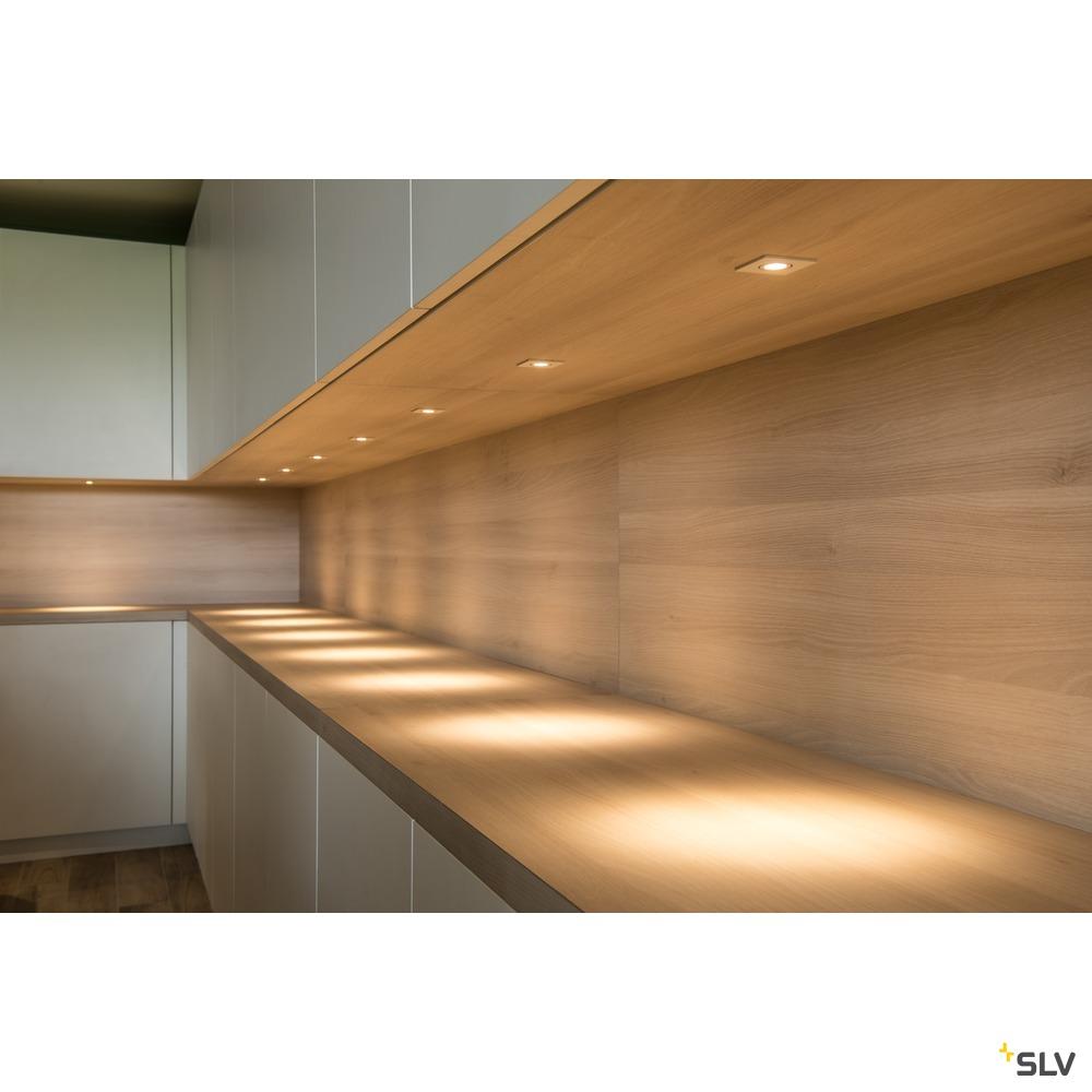 NEW TRIA MINI SET, Einbauleuchte, Power LED, 3000K, eckig, aluminium gebürstet, 30°, inkl. Treiber, Clipfedern