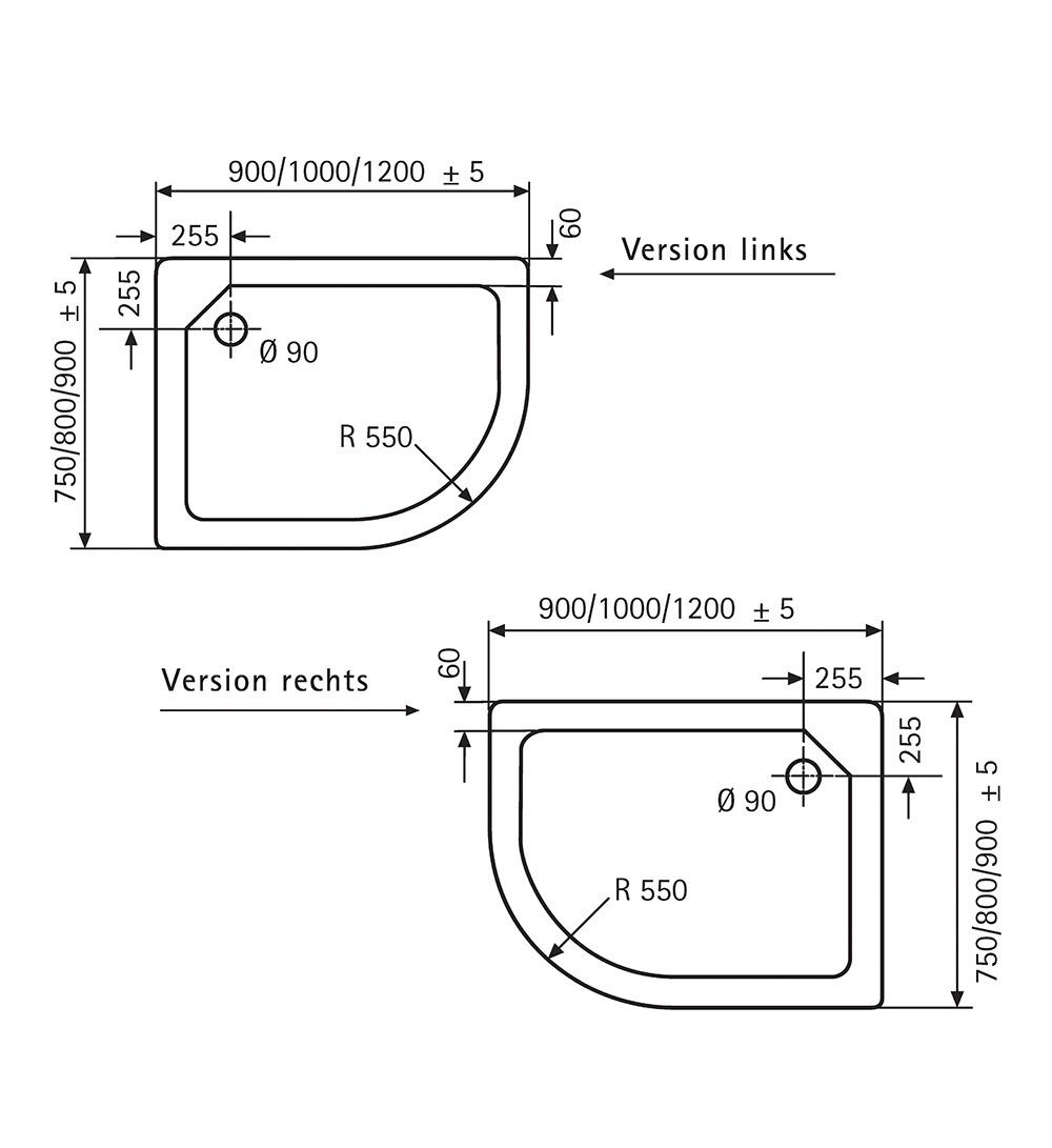 HSK Acryl-Duschwannen, superflach - Viertelkreis asymmetrisch 75x90 links Manhattan exkl. AntiSlip-Beschichtung