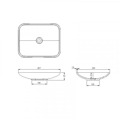 Treos Mineralguss Aufsatzwaschbecken ohne Hahnloch