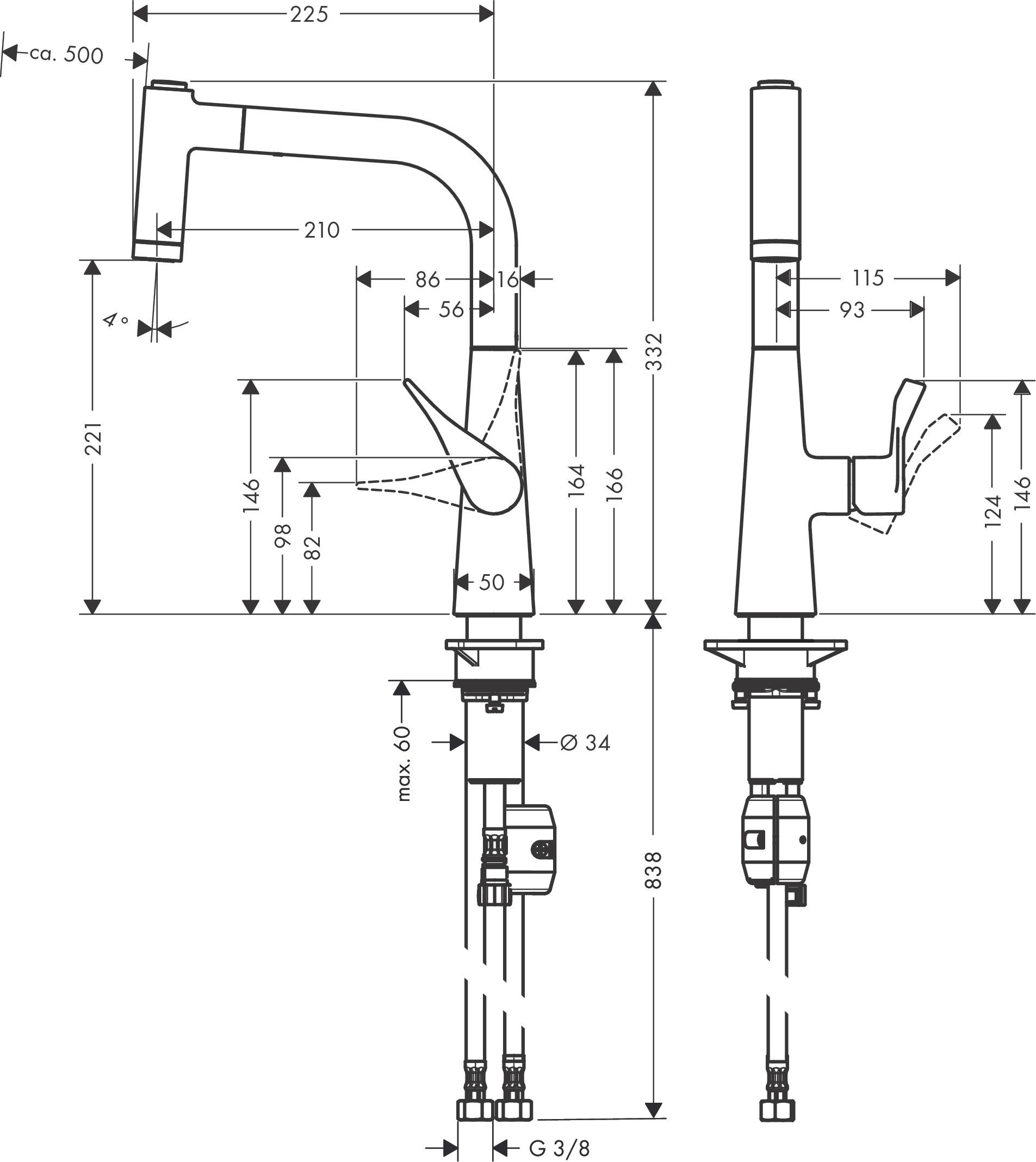 Hansgrohe Metris M71 Einhebel Küchenischer 220 mit Ausziehbrause