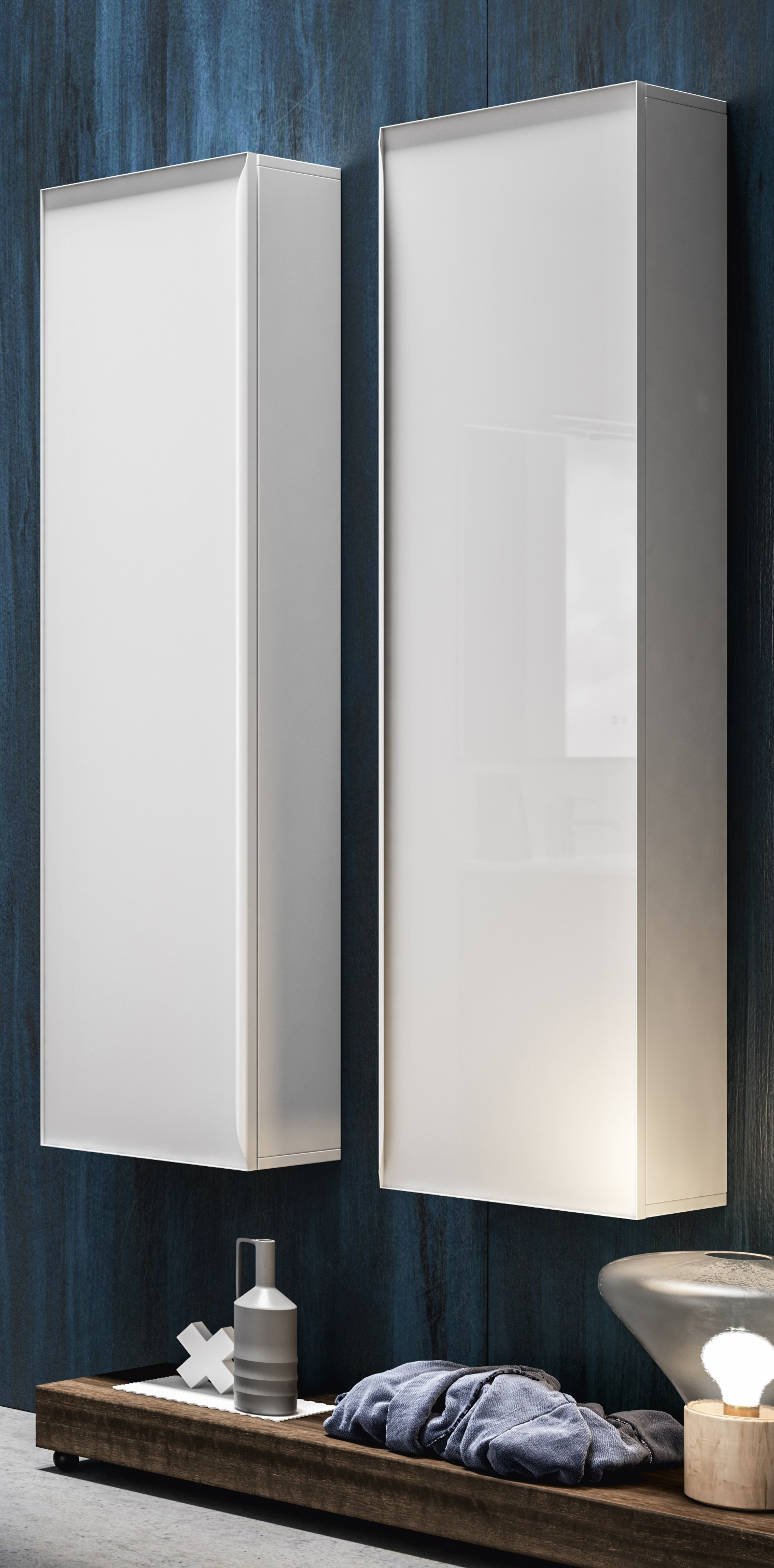 Thielsch Badmöbel Glass Wandschrank Weiß Glanzlackiert