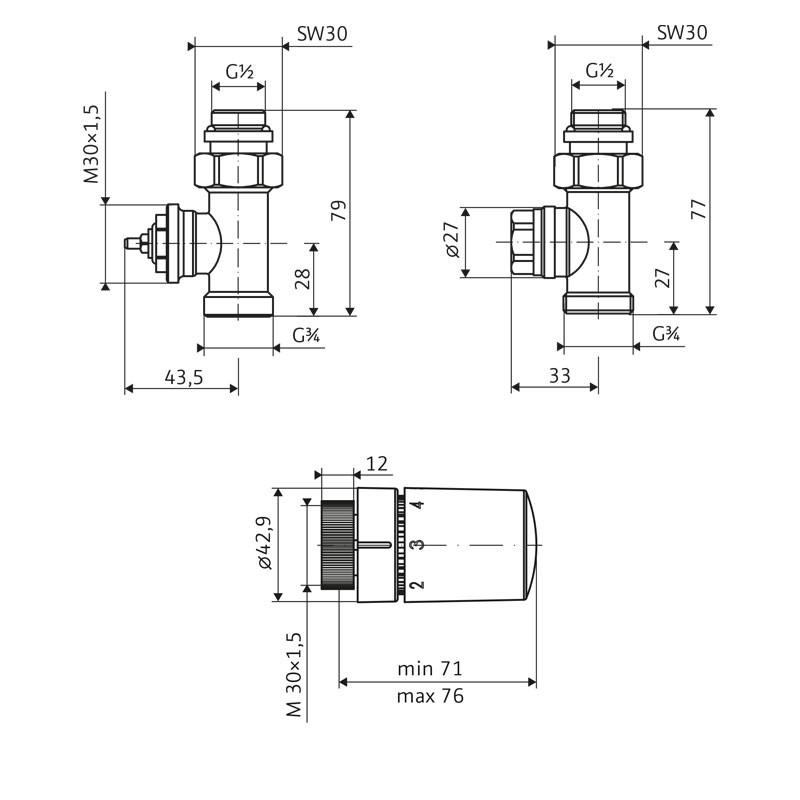 HSK Seitenanschluss Wand Ventil-Set Durchgang