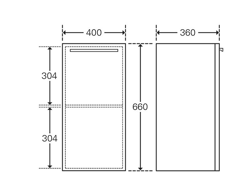 Treos Seitenschrank mit Türanschlag links, weiss, 400x360x660 mm