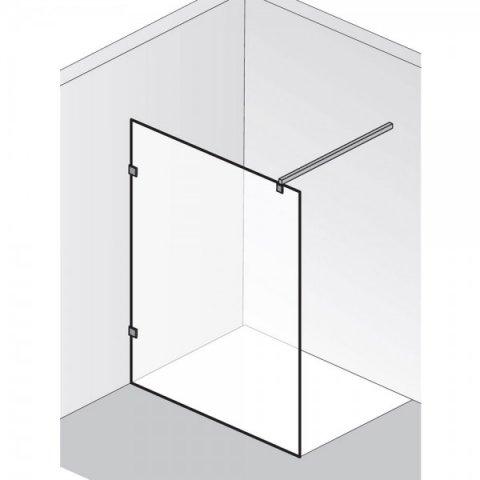 HSK Walk In Atelier Pur 1 Glaselement Chromoptik Links auf Duschwanne mit Handtuchhalter Linea.01 ohne Beschichtung bis 1200 mm ab 2001 - 2200 mm (Sondermaß) exkl. Aufmaßservice
