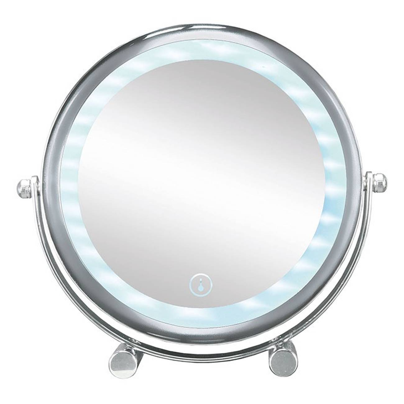 Kosmetikspiegel Bright Mirror Shorty Metall chromiert/Glas/LED Silber Spiegel