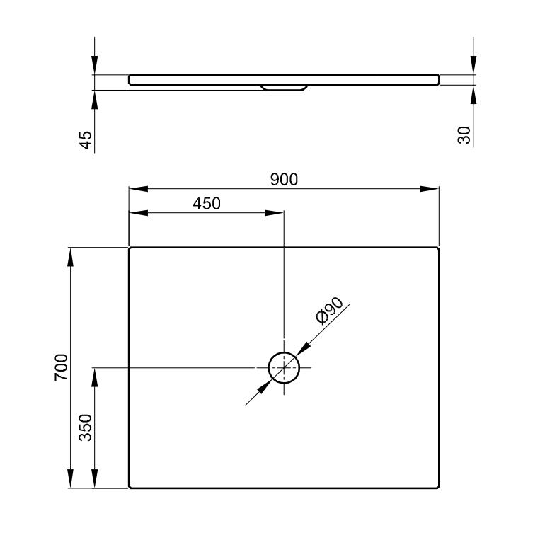Bette Floor - 900×700 mm Manhattan (002) inkl. Antirutsch exkl. Wannenträger