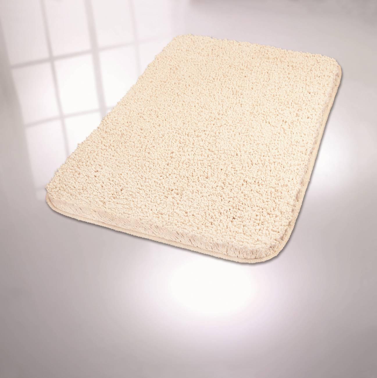 Badteppich Trend 100 % Polyester Weiss 60x 90 cm