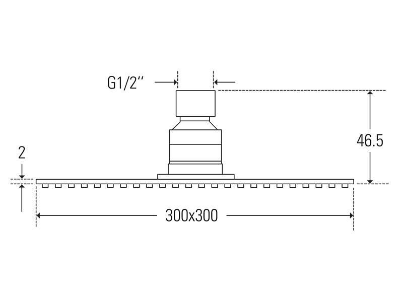 Treos Kopfbrause ultraflach 300x300 Serie 175