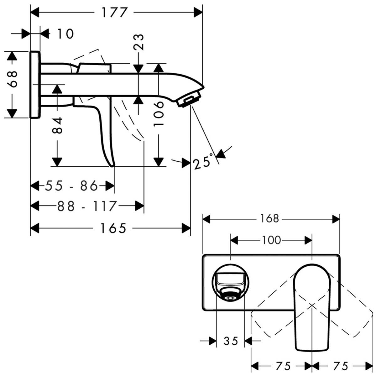 hansgrohe Metris Einhebel-Waschtischmischer LowFlow Unterputz  für Wandmontage inkl. Grundkörper