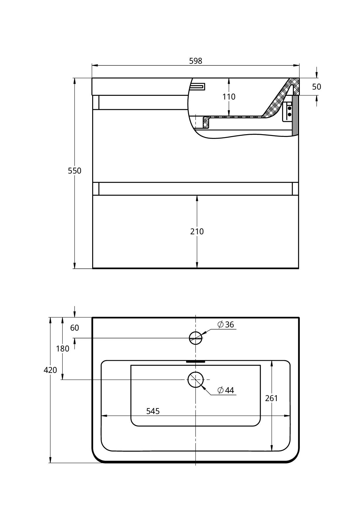 Treos Badmöbel mit Hahnloch weiss-lack 600x420x550 mm
