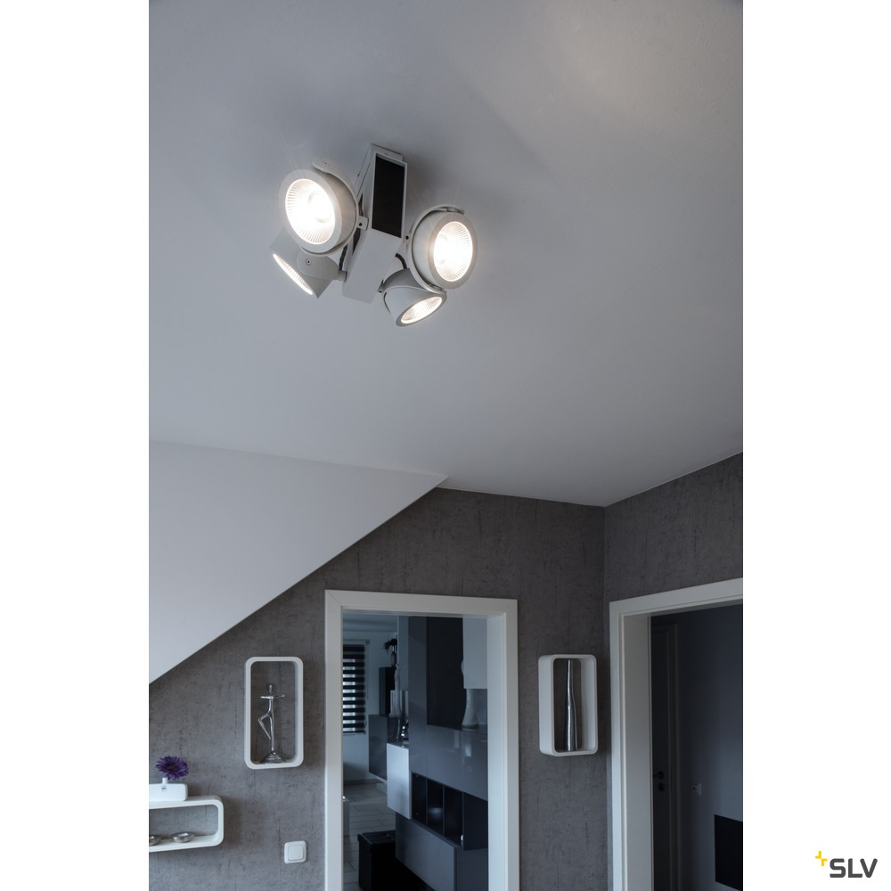 TEC KALU CW, LED Indoor Wand- und Deckenaufbauleuchte, quad weiß/schwarz 60° 3000K