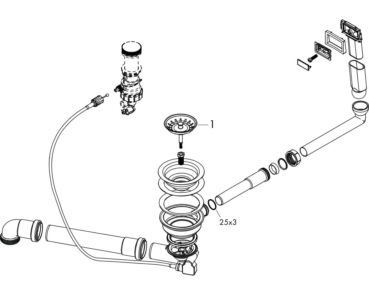 HG Select Automatische Ab- und Überlaufgarnitur