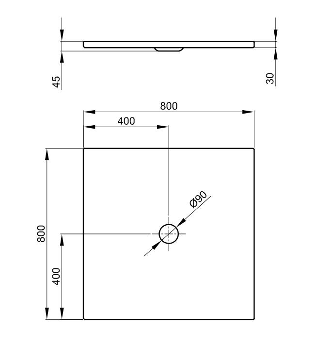 Bette Floor - 800×800 mm Pergamon (001) exkl. Antirutsch exkl. Wannenträger