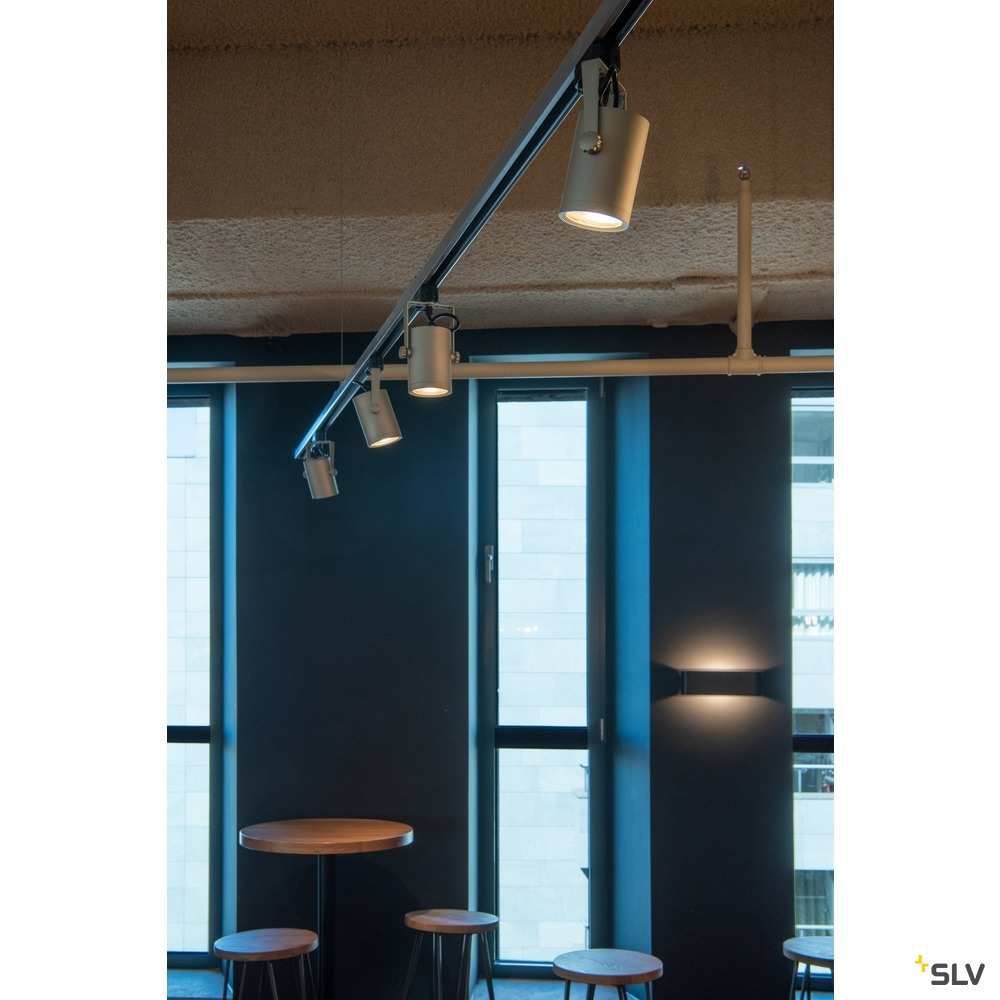 EURO SPOT LED, small, 9W COB LED, silbergrau, 36°, 3000K, inkl. 3P.-Adapter
