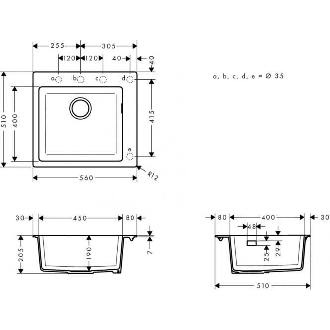 HG Einbauspüle  540 x 490 steingrau