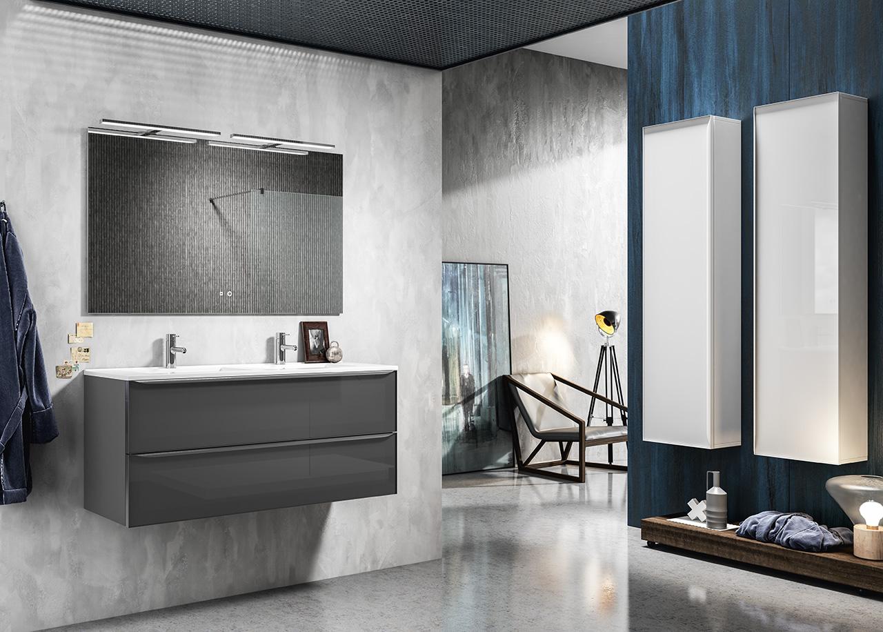 Thielsch Badmöbel Glass Set 120 cm Weiß Glanzlackiert inkl. Wandschrank