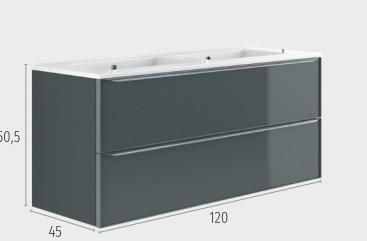 Thielsch Badmöbel Glass 120 inkl. Doppelwaschtisch Indigo Blue Mattlackiert