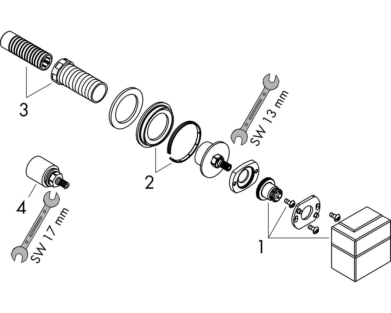 HG Absperrventil Unterputz Axor Edge Fertigset chrom