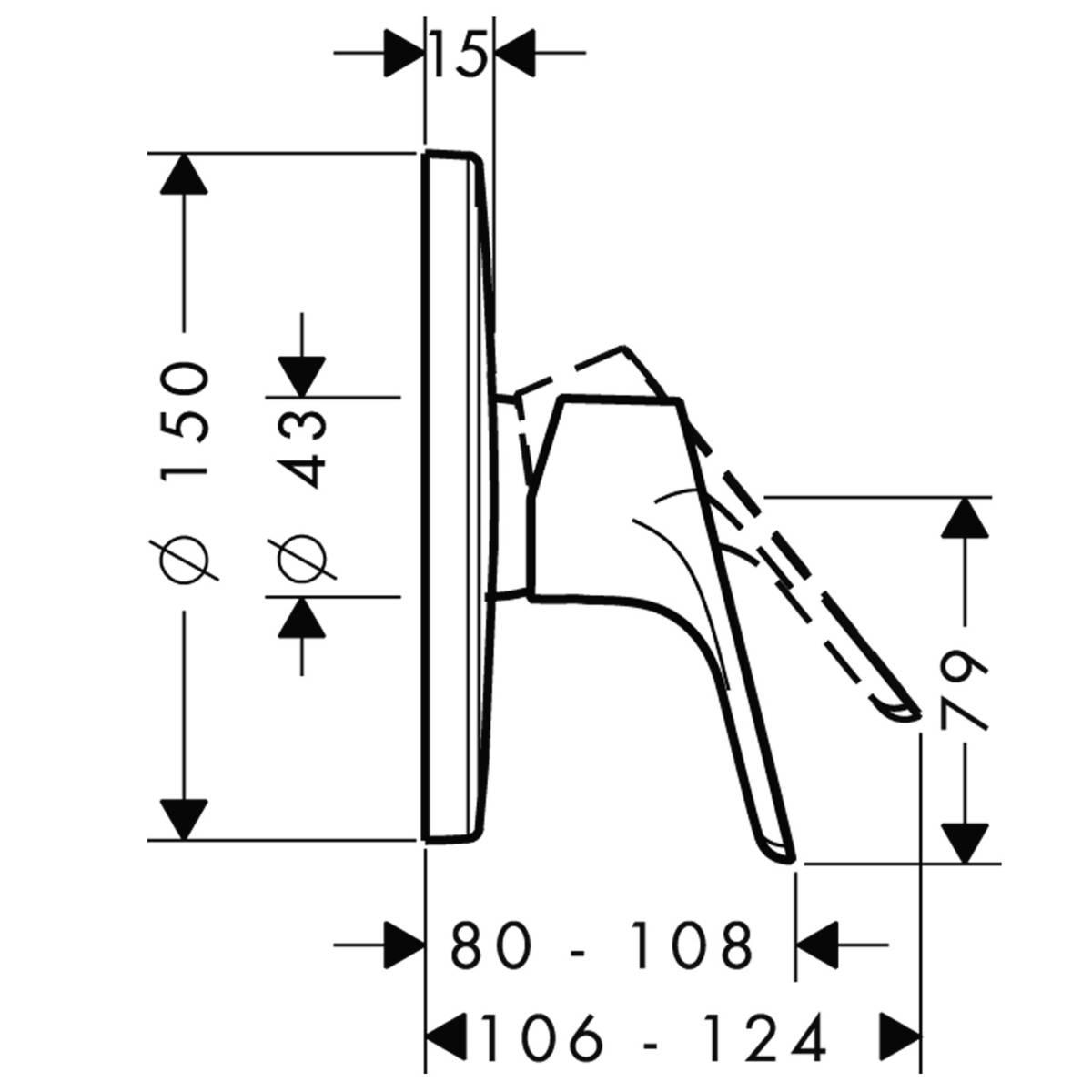 HG Brausenmischer Unterputz Focus Fertigset chrom