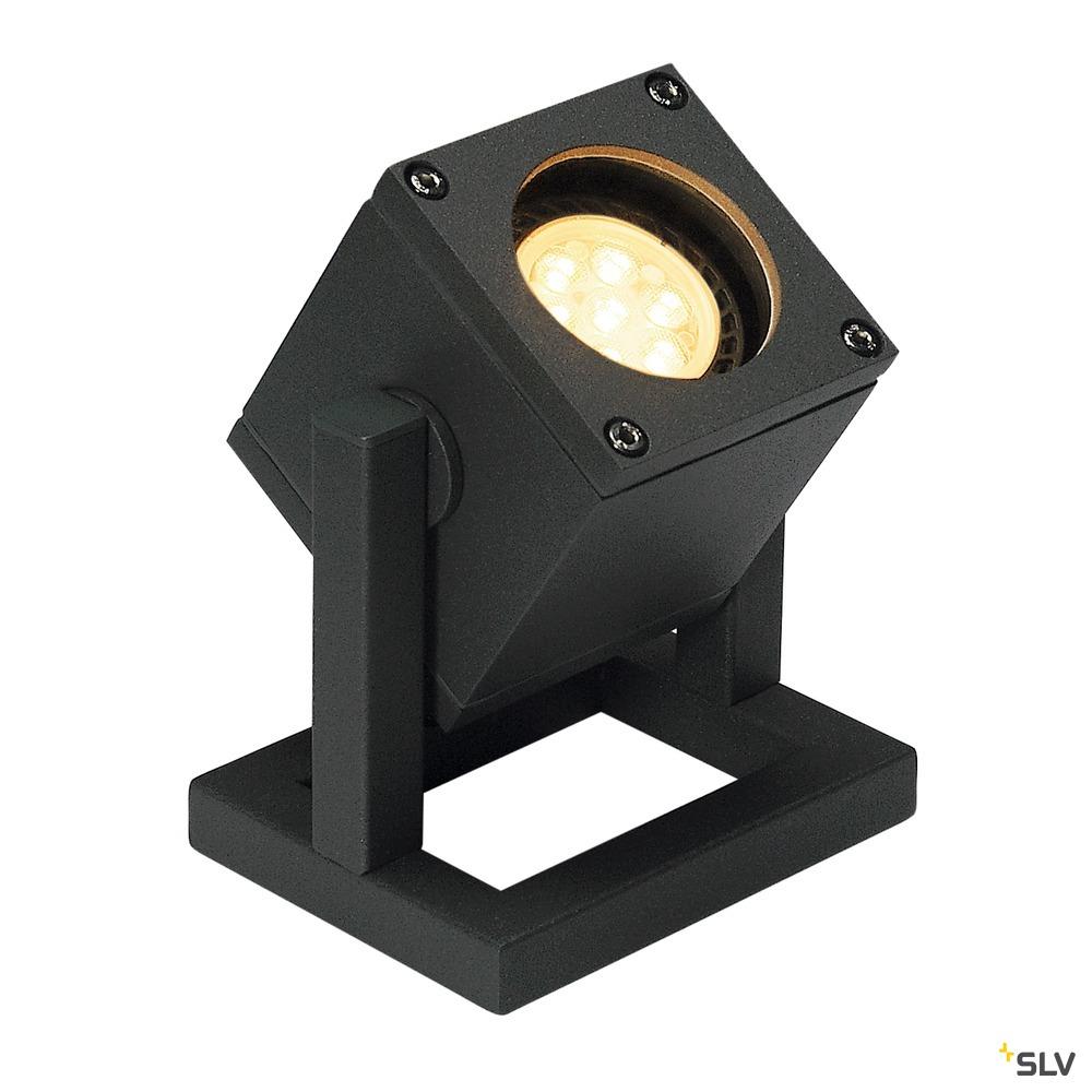 CUBIX 1, Outdoor Standleuchte, einflammig, QPAR51, IP44, eckig, anthrazit, Energiesparleuchte, max. 25W