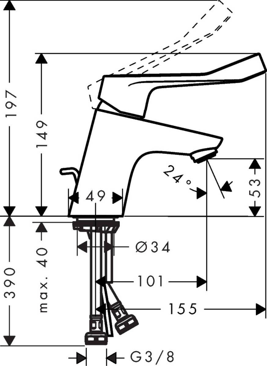 HG Waschtischmischer Focus Care 70 ohne Ablaufgarnitur chrom