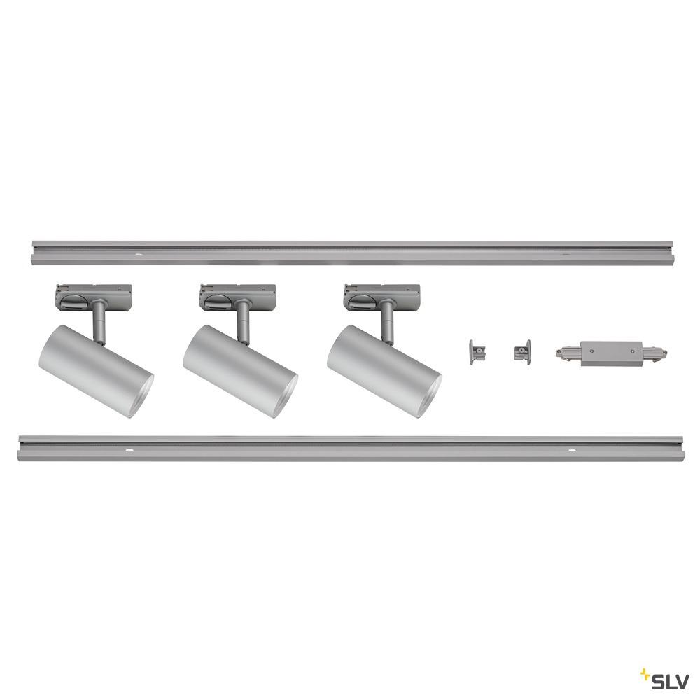 1Ph NOBLO SPOT SET 2700K grau inkl. drei Spots, zwei Schienen je 1m, einem Einspeiser sowie einem Längsverbinder