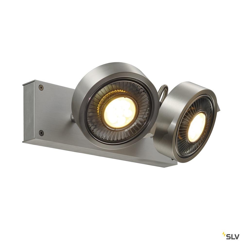 KALU, Wand- und Deckenleuchte, zweiflammig, QPAR111, rund, aluminium gebürstet, max. 150 W
