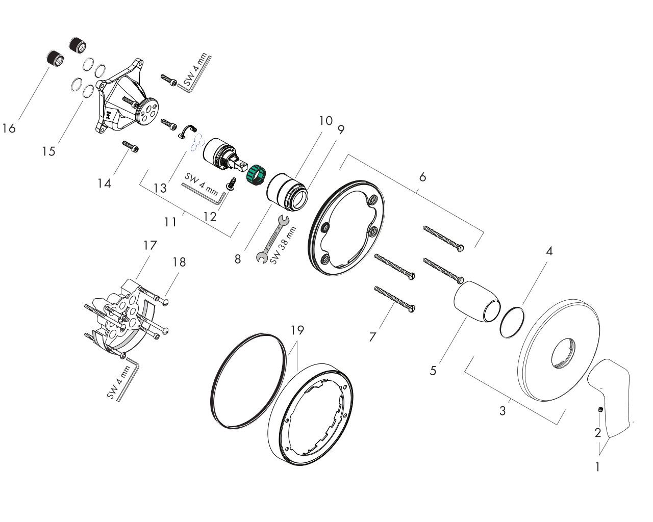 hangrohe Metris Einhebel-Brausemischer Unterputz rund inklusive Grundkörper