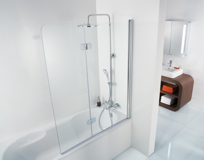 HSK Premium Softcube Badewannenaufsatz, 2-teilig - 900 mm Rechts Chromoptik Klar Hell verspiegelt ohne Beschichtung exkl. Aufmaßservice