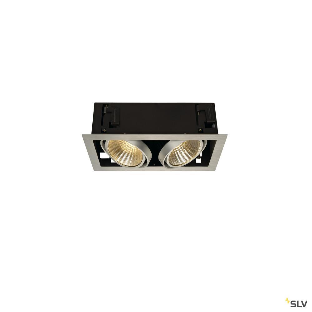 KADUX 2 SET, Einbauleuchte, zweiflammig, LED, 3000K, xl, rechteckig, aluminium gebürstet, 30°, 54W, inkl. Treiber, Clipfedern