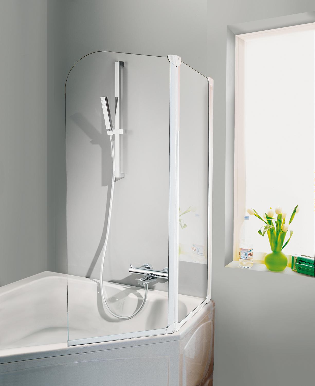 HSK Favorit Badewannenaufsatz, 2-teilig Links Alu Silber-Matt Chinchilla ohne Beschichtung inkl. Aufmaßservice