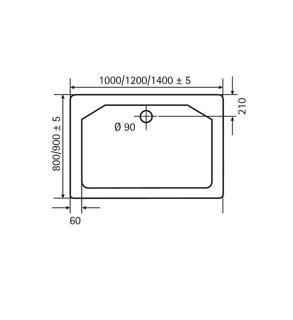 HSK Marmor-Polymer-Duschwannen, super-flach - Rechteck 90x140 ohne AntiSlip-Beschichtigung