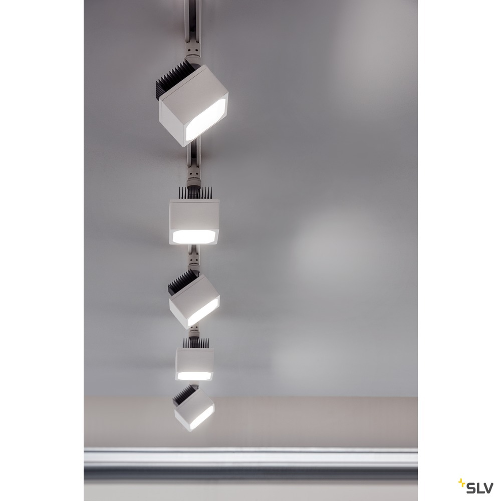 EURO CUBE, Spot für Hochvolt-Stromschiene 3Phasen, LED, 4000K, weiß, 90°, inkl. 3Phasen-Adapter