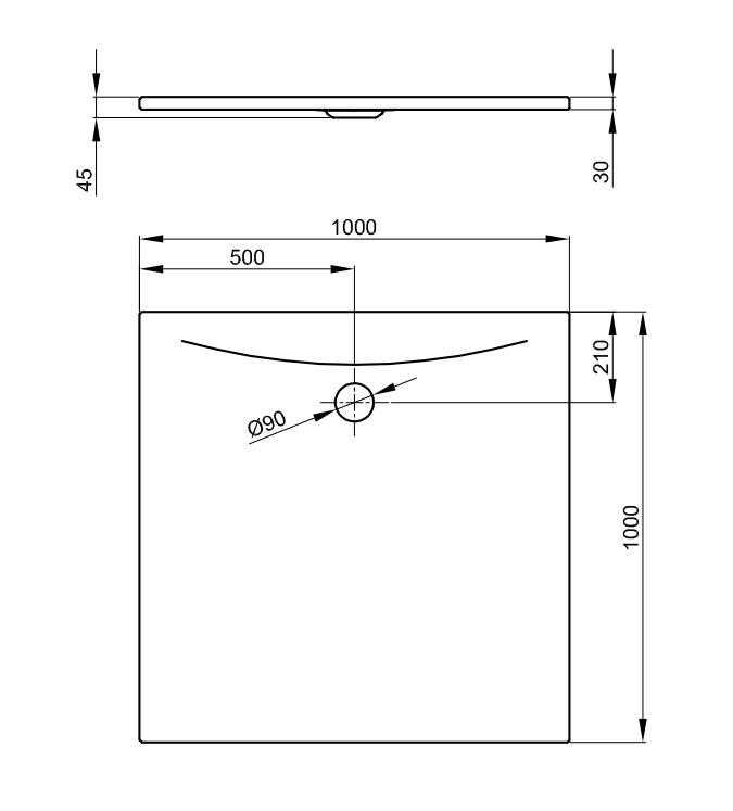 Bette Floor Side - 1000x1000 mm Weiß exkl. Antirutsch exkl. Wannenträger