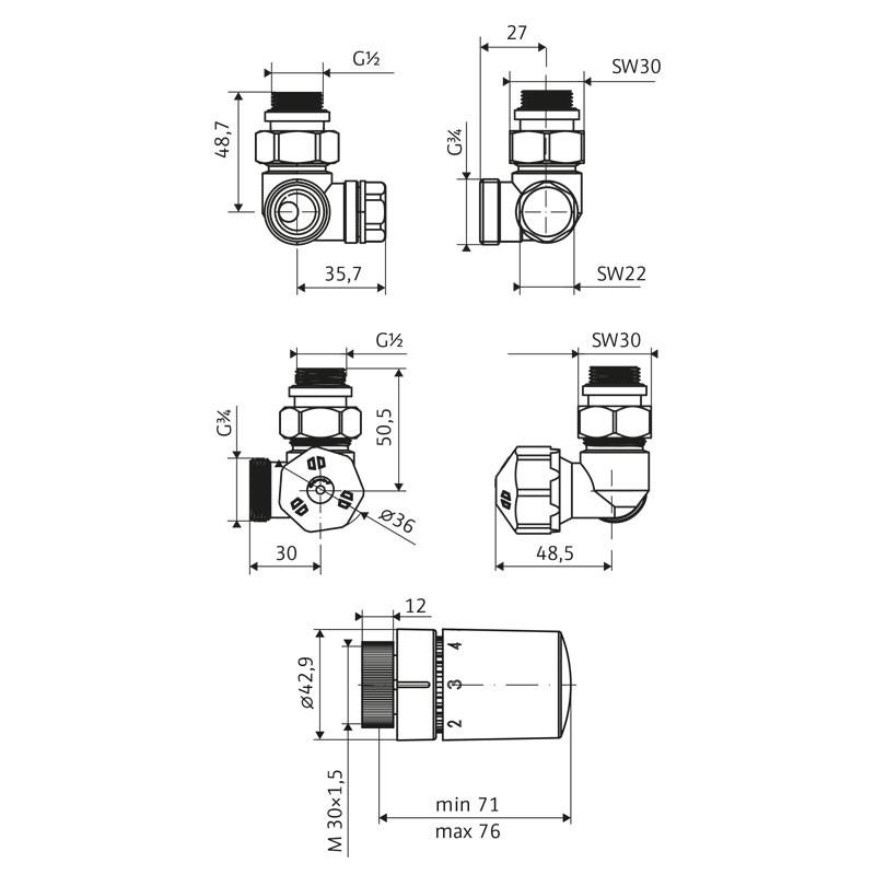 HSK Seitenanschluss Wand Ventil-Set Winkel-Eck - Version Rechts