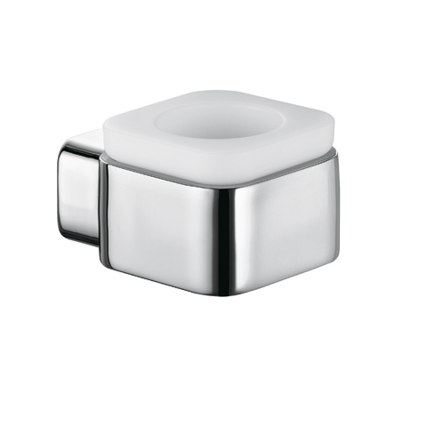 KLUDI E2 Teelichthalter aus Opal-Glas chrom