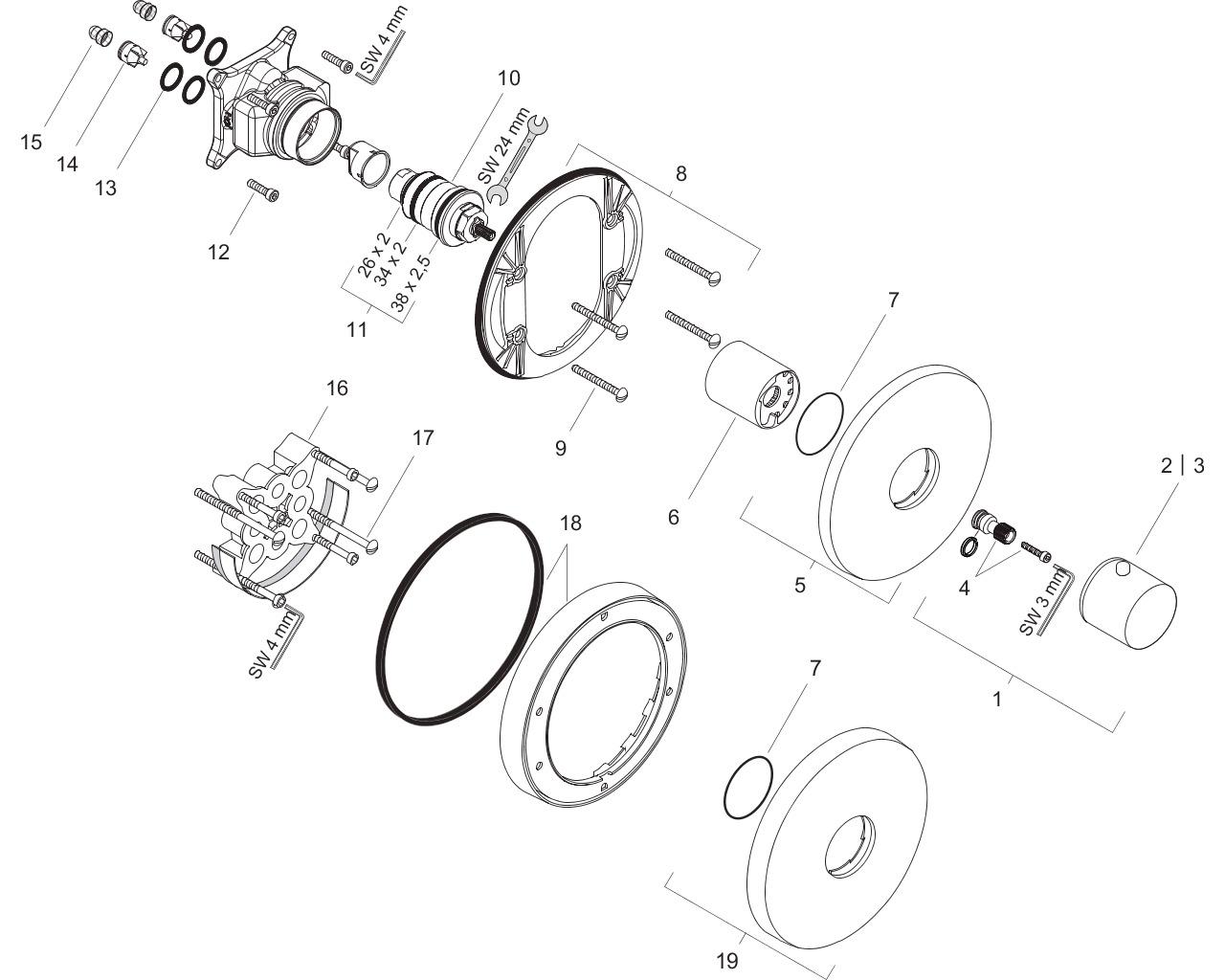 HG Thermostatmischer Unterputz Axor