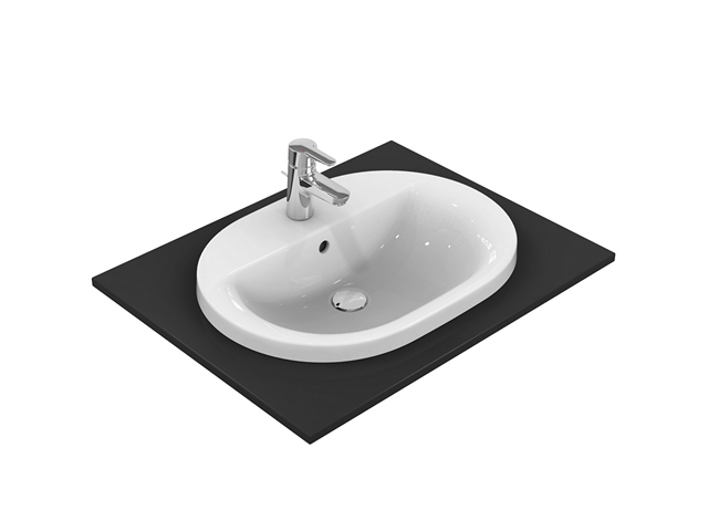 IS Einbauwaschtisch Connect oval 1Hl. m.Ül. 620x460x175mm Weiß