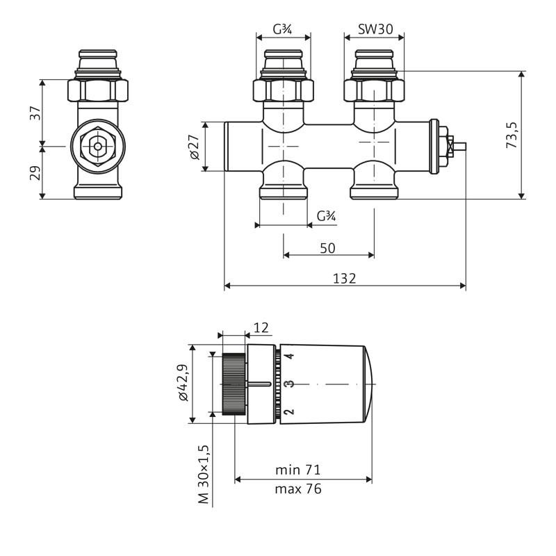 HSK Mittelanschluss Boden Ventil-Set Durchgang