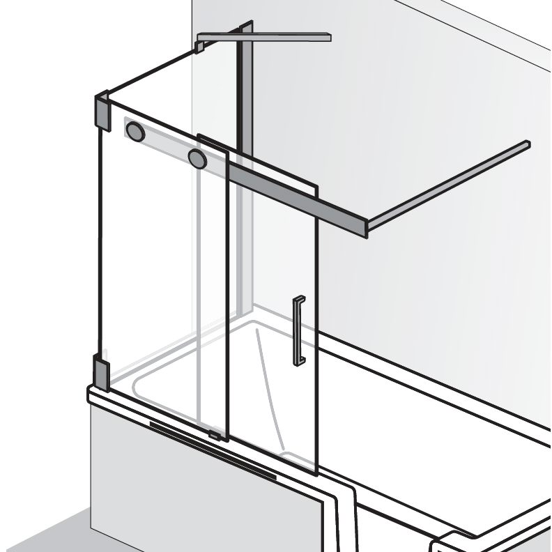HSK Badewannenaufsatz K2P Schiebetür, 2-teilig + Seitenwand - 1040 mm Rechts Riegelgriff mit Handtuchhalter Chinchilla mit Beschichtung inkl. Aufmaßservice