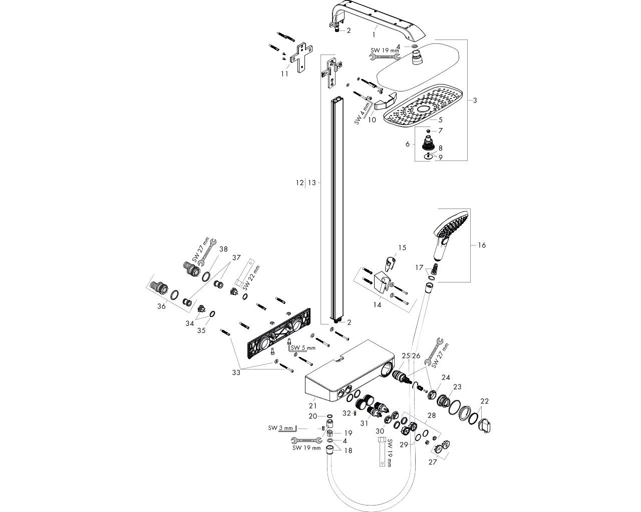 HG Showerpipe Raindance Select weiss/chr